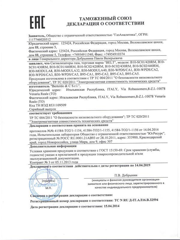 Сигнализатор B10-SC 01 на метан (СН4)